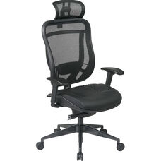 Space 818 Breathable Mesh Back and Black Leather Seat Executive Chair with 2-to-1 Synchro Tilt and Matex Headrest - Black