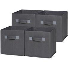 OneSpace Foldable Cloth Storage Cube Set - Set of 4 - Grey