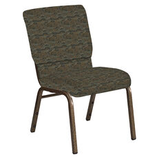 Embroidered 18.5''W Church Chair in Perplex Willow Fabric - Gold Vein Frame