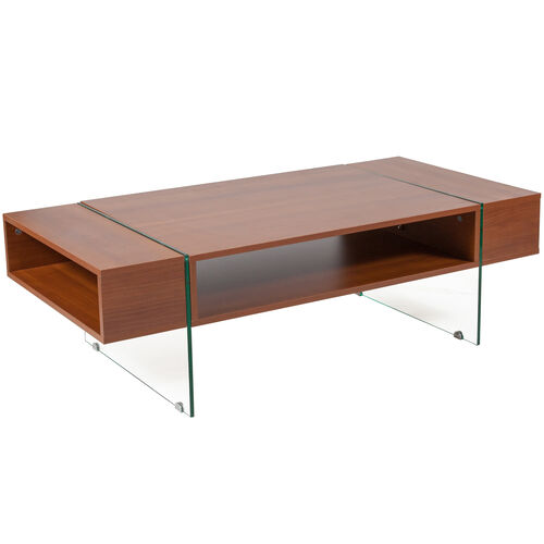 Our Lafayette Place Cherry Wood Grain Finish Coffee Table with Glass Legs is on sale now.