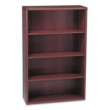 HON® 10700 Series Wood Bookcase - Four Shelf - 36w x 13 1/8d x 57 1/8h - Mahogany