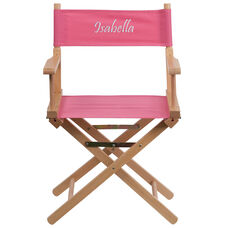 Embroidered Standard Height Directors Chair in Pink