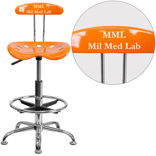 Our Personalized Vibrant Orange and Chrome Drafting Stool with Tractor Seat is on sale now.