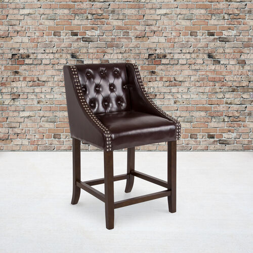 """Carmel Series 24"""" High Transitional Tufted Walnut Counter Height Stool with Accent Nail Trim in Brown LeatherSoft"""