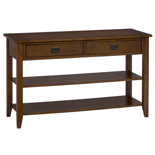 Mission Oak Sofa/Media Table with 2 Drawers and 2 Shelves