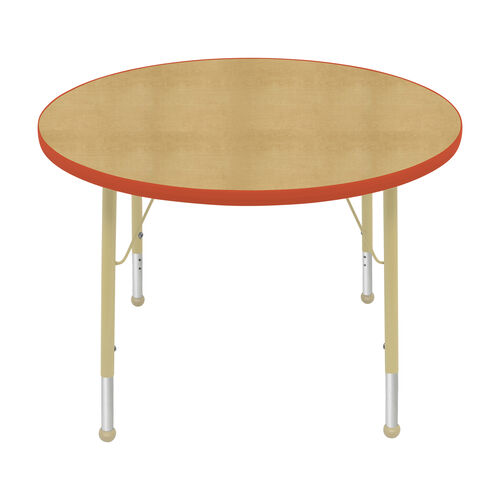 Our Adjustable Standard Height Laminate Top Round Activity Table - Maple Top with Autumn Orange Edge and Legs - 36