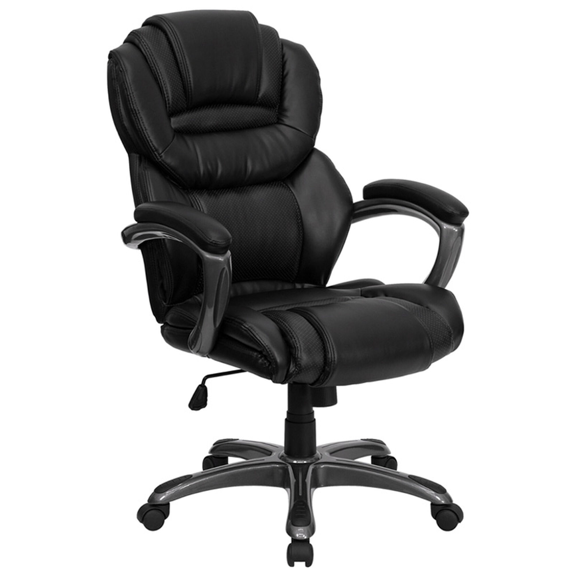 Baseball desk chair - High Back Black Leather Executive Swivel Chair With Arms