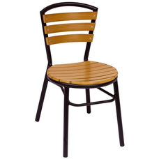 Norden Stackable Side Chair - Synthetic Teak Seat and Black Aluminum Frame