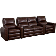 Manor Four Seater Home Theater - Straight Arm in Bonded Leather