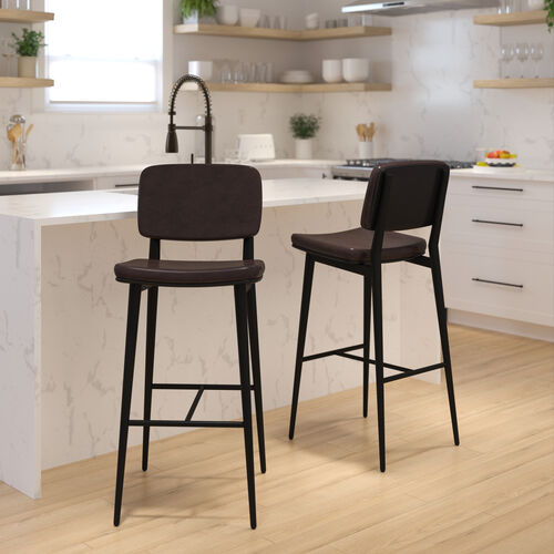 Kenzie Commercial Grade Mid-Back Barstools - Brown LeatherSoft Upholstery - Black Iron Frame with Integrated Footrest - Set of 2
