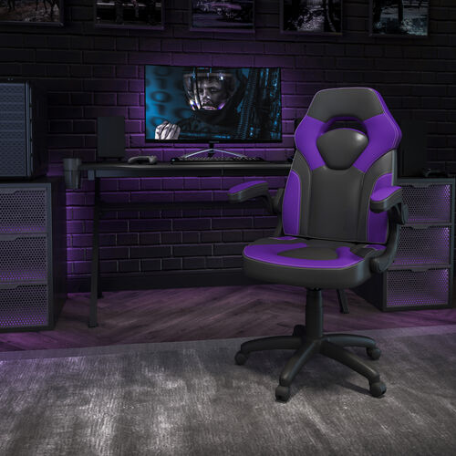 BlackArc X10 Gaming Chair Racing Office Ergonomic Computer PC Adjustable Swivel Chair with Flip-up Arms, Purple/Black LeatherSoft