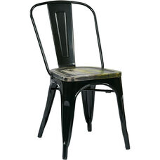 OSP Designs Bristow Metal Chair with Wood Seat - 4-Pack - Black and Vintage Ash Cameron