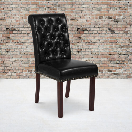 Our HERCULES Series Black LeatherSoft Parsons Chair with Rolled Back, Accent Nail Trim and Walnut Finish is on sale now.
