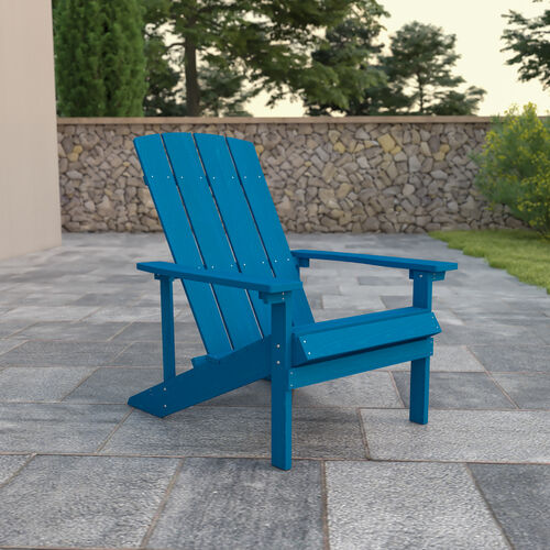 Charlestown All-Weather Poly Resin Wood Adirondack Chair in Blue