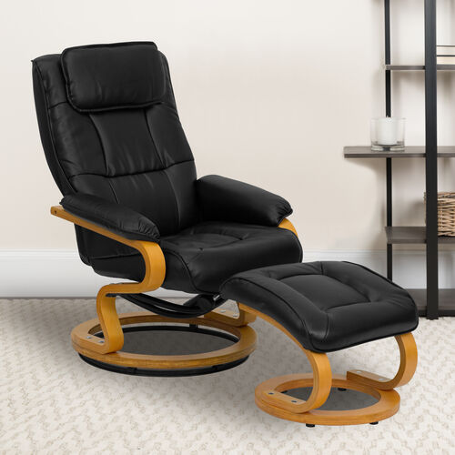 Our Contemporary Multi-Position Recliner and Ottoman with Swivel Maple Wood Base is on sale now.