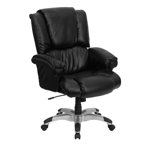 Our High Back Black Leather OverStuffed Executive Swivel Ergonomic Office Chair with Fully Upholstered Arms is on sale now.
