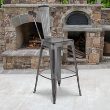 """Commercial Grade 30"""" High Distressed Silver Gray Metal Indoor-Outdoor Barstool with Back"""