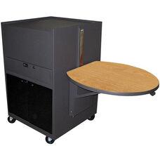 Zapf® Office Support Media Center Cart with Acrylic Door - Dark Neutral Finish with Oak Laminate