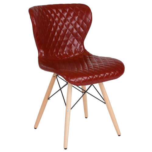 Our Riverside Contemporary Upholstered Chair with Wooden Legs in Red Vinyl is on sale now.