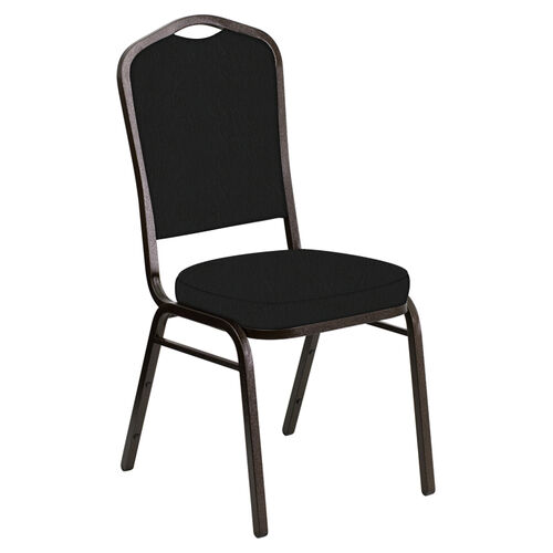 Our Embroidered Crown Back Banquet Chair in E-Z Oxen Black Vinyl - Gold Vein Frame is on sale now.