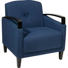 Ave Six Main Street Chair with Espresso Finish Legs and Curved Arms - Indigo
