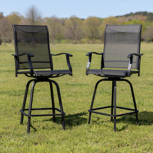 Patio Bar Height Stools Set of 2, All-Weather Textilene Swivel Patio Stools and Deck Chairs with High Back & Armrests