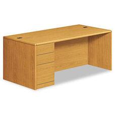 HON® 10700 Series Single Pedestal Desk - Full Left Pedestal - 72 x 36 x 29 1/2 - Harvest