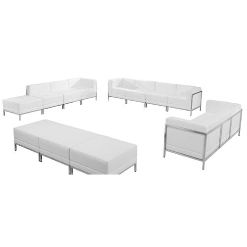 Our HERCULES Imagination Series Melrose White Leather Sofa, Lounge & Ottoman Set, 12 Pieces is on sale now.