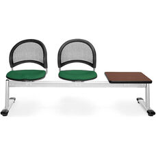 Moon 3-Beam Seating with 2 Forest Green Fabric Seats and 1 Table - Mahogany Finish