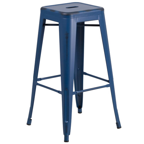 """Our Commercial Grade 30"""" High Backless Distressed Antique Blue Metal Indoor-Outdoor Barstool is on sale now."""