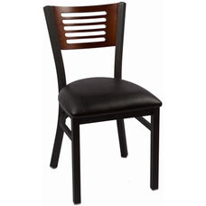 Jones River Series Wood Back Armless Chair with Steel Frame and Vinyl Seat - Walnut