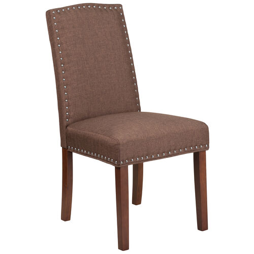 Our HERCULES Hampton Hill Series Brown Fabric Parsons Chair with Silver Accent Nail Trim is on sale now.