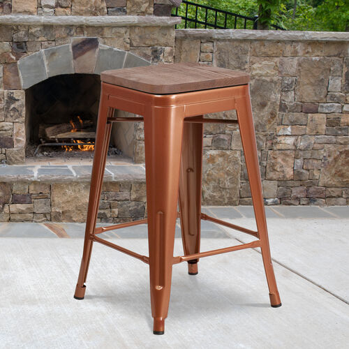 "Our 24"" High Backless Counter Height Stool with Square Wood Seat is on sale now."