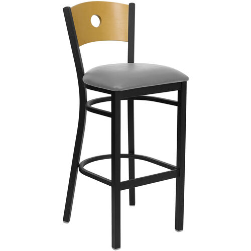 Our Black Circle Back Metal Restaurant Barstool with Natural Wood Back & Custom Upholstered Seat is on sale now.