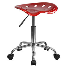 Vibrant Wine Red Tractor Seat and Chrome Stool