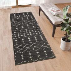 Geometric Bohemian Low Pile Rug - 2' x 6' - Dark Gray/Ivory Polyester