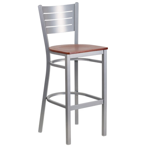 Our Silver Slat Back Metal Restaurant Barstool with Cherry Wood Seat is on sale now.