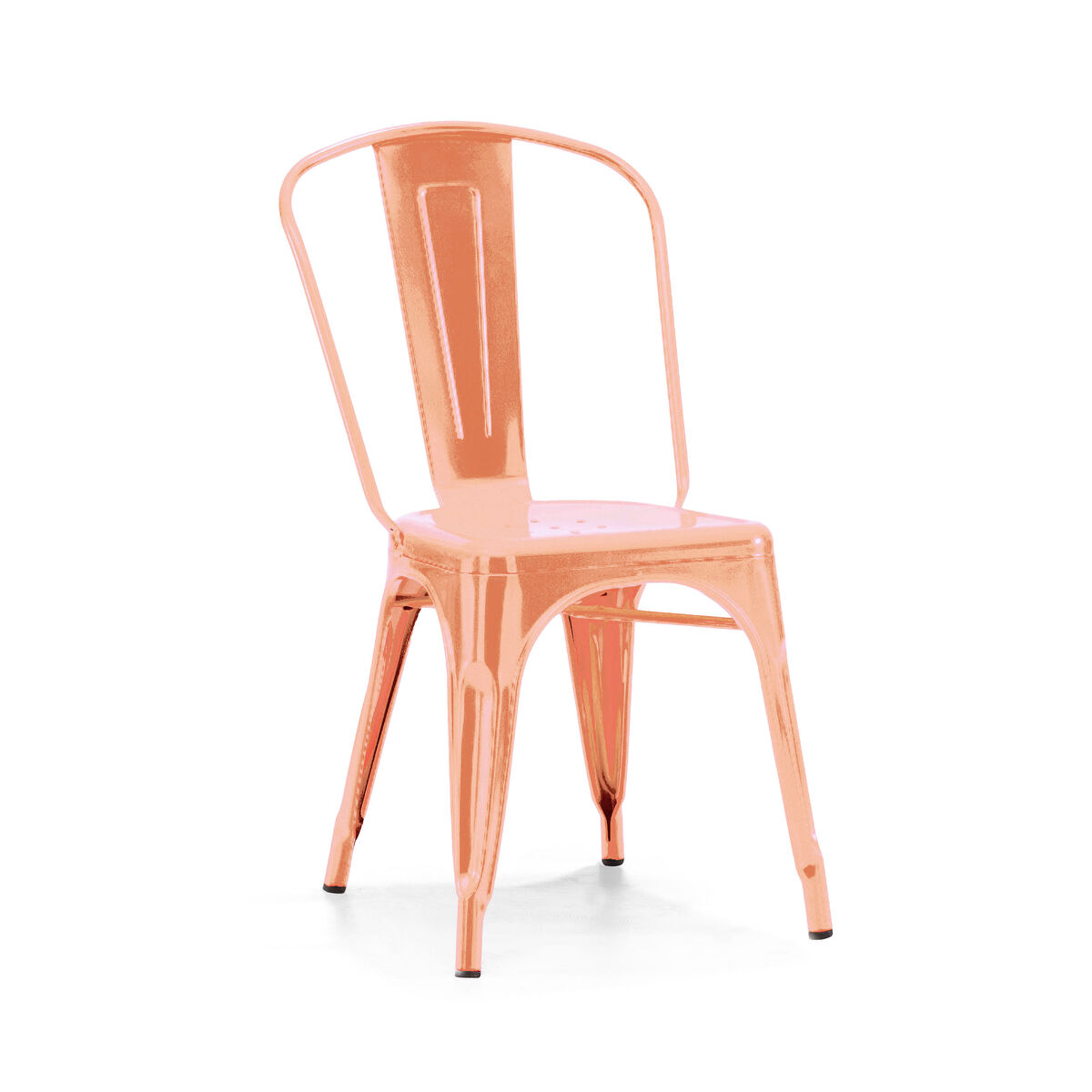 Dreux Chrome Rose Gold Stackable Steel Armless Side Chair