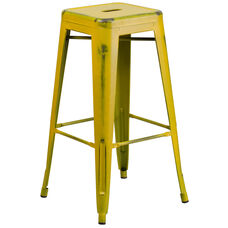 "Commercial Grade 30"" High Backless Distressed Yellow Metal Indoor-Outdoor Barstool"
