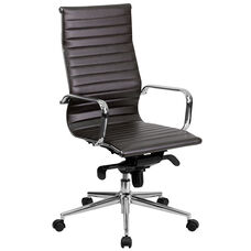 High Back Brown Ribbed Leather Executive Swivel Office Chair with Knee-Tilt Control and Arms