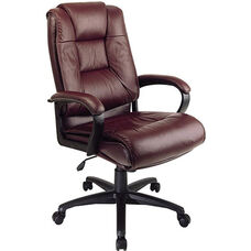 Work Smart Deluxe High Leather Chair with Padded Loop Arms - Burgundy