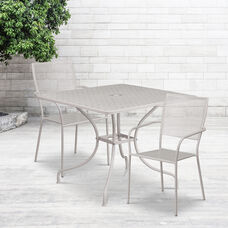 """Commercial Grade 35.5"""" Square Light Gray Indoor-Outdoor Steel Patio Table Set with 2 Square Back Chairs"""
