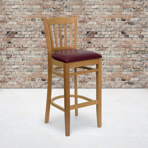 Our Natural Wood Finished Vertical Slat Back Wooden Restaurant Barstool with Burgundy Vinyl Seat is on sale now.