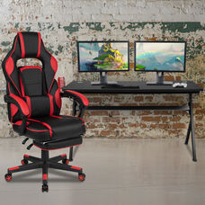 BlackArc Black Gaming Desk with Cup Holder/Headphone Hook/Removable Mousepad Top & Red Reclining Back/Arms Gaming Chair with Footrest