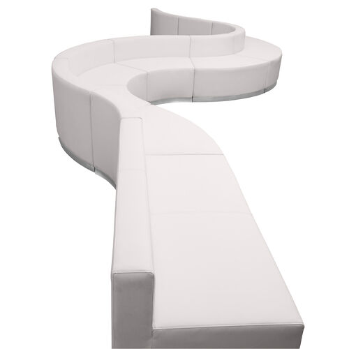 HERCULES Alon Series Melrose White LeatherSoft Reception Configuration, 9 Pieces