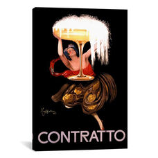 Contratto Champagne Wine Ad Vintage Poster by Leonetto Cappiello Gallery Wrapped Canvas Artwork with Floating Frame - 27