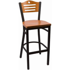 Eagle Series Wood Back Armless Barstool with Steel Frame and Wood Seat - Cherry