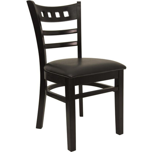 American Back Chair with Black Finish and Black Vinyl Seat