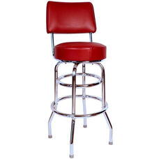 Retro Style Double Ring Chrome Frame 30'' Swivel Bar Stool with Backrest and Padded Seat - Wine Vinyl