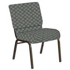 Embroidered 21''W Church Chair in Cirque Olive Fabric - Gold Vein Frame